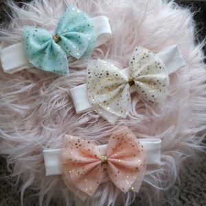 3 Baby Girl Bow Headbands